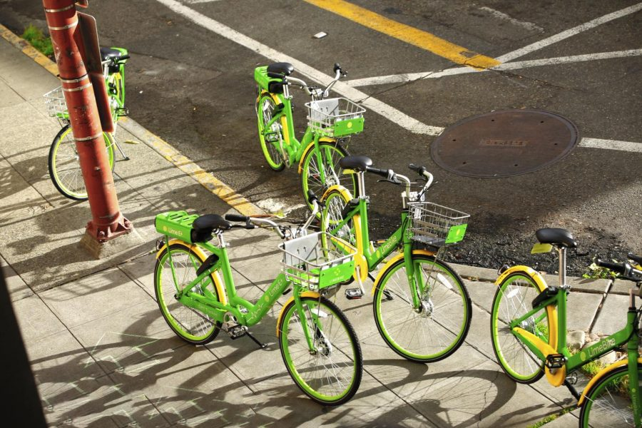 LINING THE STREETS In Seattle, dockless Lime bikes are clustered at street corners. Now found in 100 cities in the United States and Europe, these bikes and e-scooters have been gaining substantial popularity. The company is now estimated to be worth $1.1 billion.