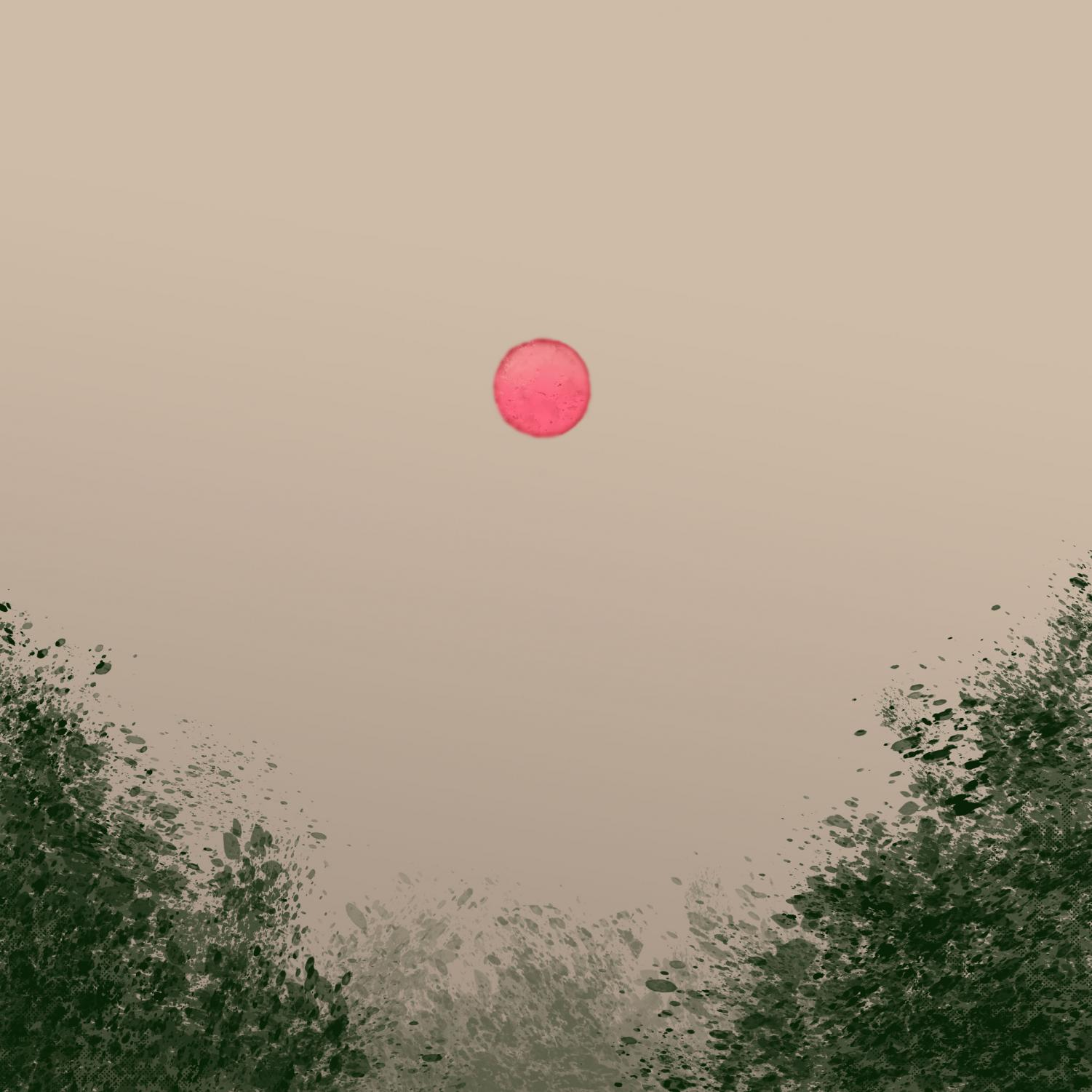 "THE SUMMER OF RED SUNS. Illustration by Mimi Gaudiano. One of the striking aspects of the forest fires was the bright red sun. Senior Cheyanne Ferrall describes her experience this last summer, ""I knew several people who couldn't go outside for very long because of asthma. In Port Orchard you could no longer see Seattle from the other side of the water, the whole city was just gone."""