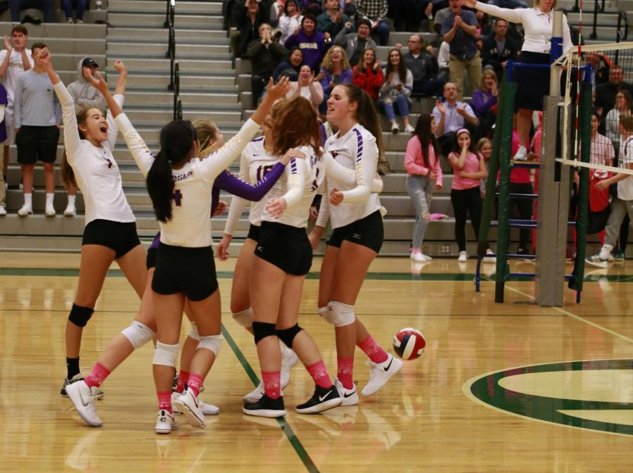 CLEAN SWEEP: The team celebrates together with cheers after scoring a point. The Issaquah Girls' Varsity Volleyball Team beat rival Skyline Wednesday night in just three matches.