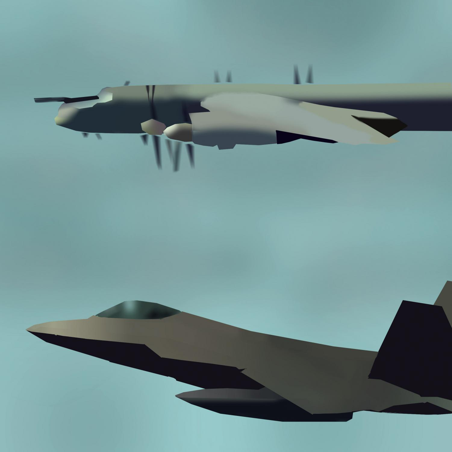 TENSION: A United States F-22 fighter jet intercepts a long range Russian bomber. Total flight time for the two interceptions exceeded 24 hours.