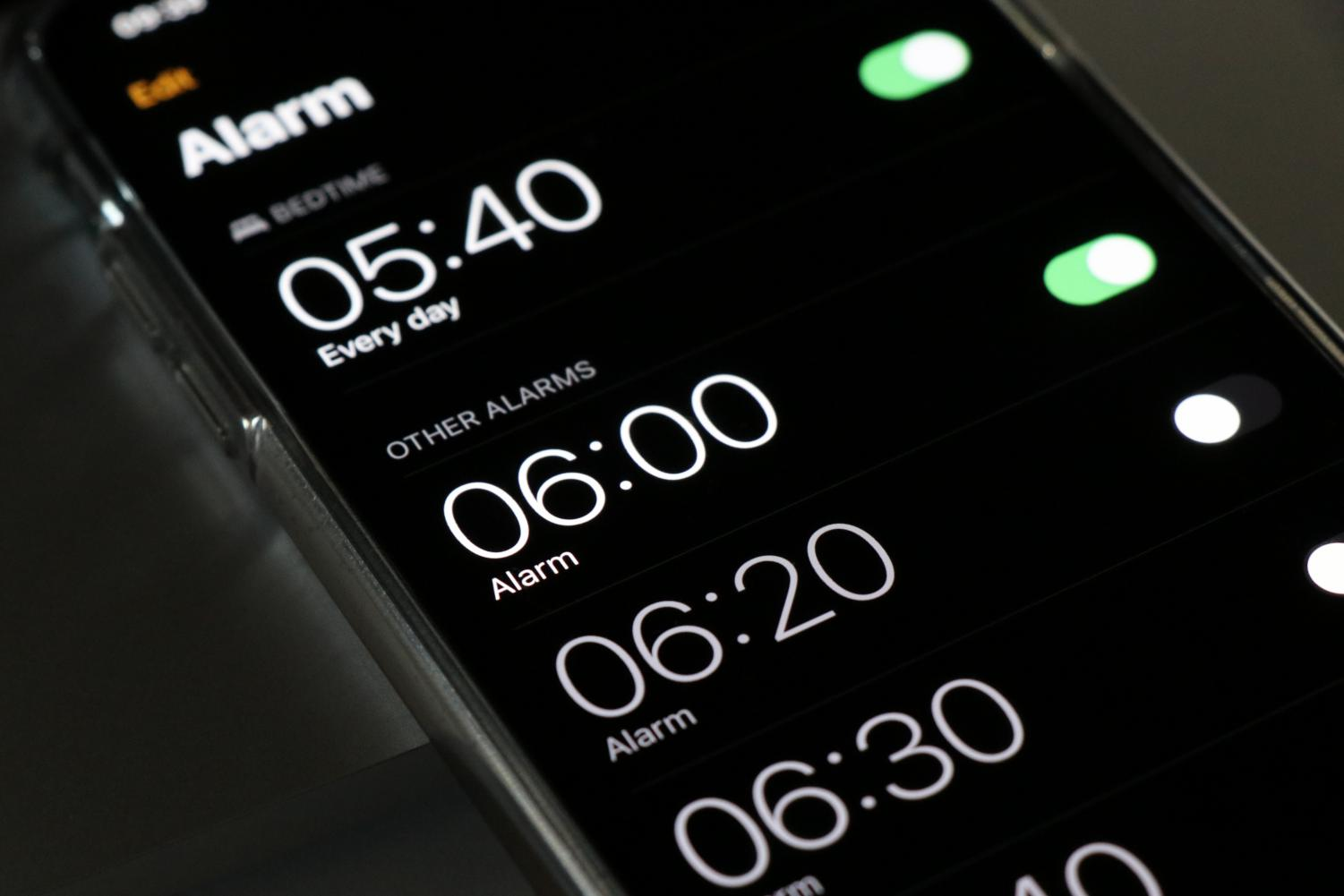 ALARMS, ALARMS, AND MORE ALARMS: People need constant blaring reminders on when to wake up. If sleep were to be maintained properly, there would be no use for such a thing.