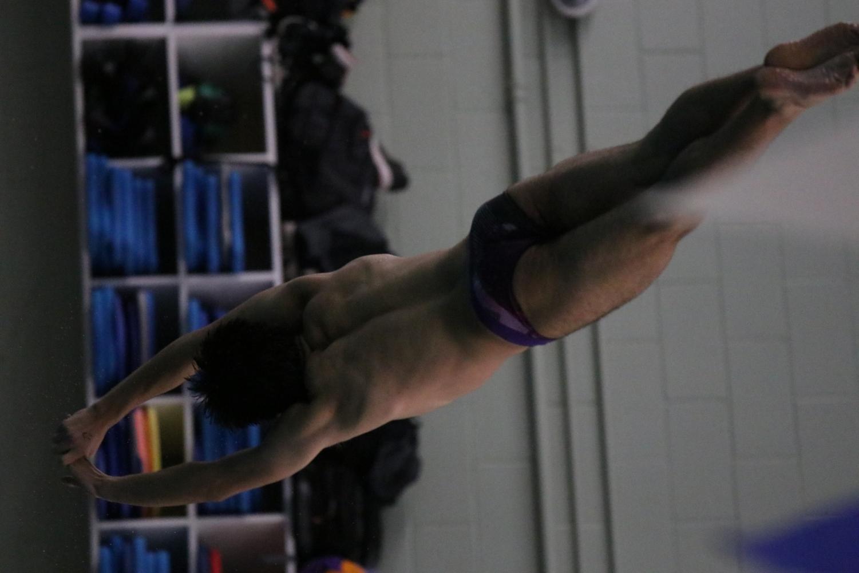 BOYS SWIVE MEET VS. LIBERTY Robert Gref soaring splashlessly into the pool.