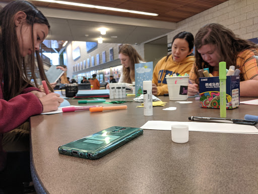 CARDS OF KINDNESS: The Sophomore Class Council hosted a card-making event Wednesday morning, where they offered cookies to anyone who made a card for the old folks' home.