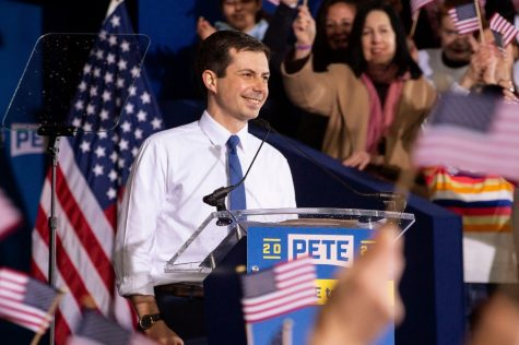 DEMOCRATIC HOPEFUL: Pete Buttigieg addresses his supporters during his bid for the presidency.
